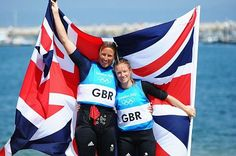 Hannah Mills and Saskia Clark win silver in the women's 470 sailing.