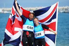 Hannah Mills and Saskia Clark win silver in the women's 470 sailing.