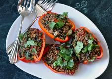 Quinoa Stuffed Peppers via Greatist This simple, protein-rich stuffed pepper recipe is perfect for an easy weeknight dinner or for entertaining a crowd.