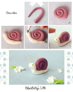 Fondant or Polymer Clay snail figurine tutorialWonderful Clay Art Ideas - The Perfect DIY. Can be made with fondantBlackBetty'sLab: Tutorial do caracol!These are made of fondant, but clay works too!tutorial Could use fondant Mais Cupcake Tier, Cupcake Cakes, Cupcakes, Fondant Toppers, Fondant Cakes, Fondant Bow, Fondant Flowers, Cupcake Toppers, Sugar Paste