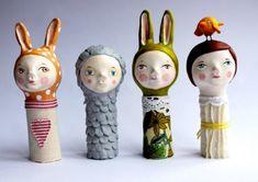 whimsical paper mache , EyeCandies Blog Paper Clay, Diy Paper, Paper Art, Paper Dolls, Art Dolls, Fabric Dolls, Paper Mache Crafts, Paper Mache Sculpture, Toy Art