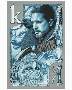 """Kings In The North"" art screen print by Steven Luros Holliday 20x30 inches on galvanized silver paper #got7 #gameofthrones #jonsnow #NightKing #whitewalkers #design #illustrator #illustration #poster #posterart #vectorart #screenprint #screenprinting #tvshow #popculture #playingcard #kingcard"