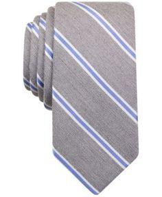 Bar Iii Men's Eddington Stripe Skinny Tie, Only at Macy's  - Silver
