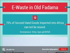 A reminder of the need to be vigilante when recycling or charitably donating second-hand goods to Africa.  Old Fadama is home to one of the world's largest E-waste dumps, causing it to be listed as ONE OF THE TEN MOST POLLUTED PLACES ON EARTH in December 2013 by the Green Cross and Blacksmith Institute.