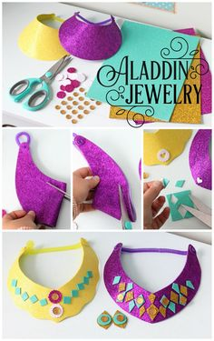 Easy to make glitter Princess Jasmine necklace and stick on earrings craft. Mess free, perfect Aladdin party kids craft.