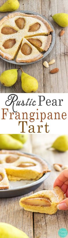 Rustic Pear Frangipane Tart - Homemade fresh pear and almond tart recipe. You will love this easy to follow dessert. ♥️ | http://happyfoodstube.com
