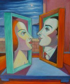 "PASQUALE VINCIGUERRA ""Amanti Segreti"" - painting - oil on canvas"