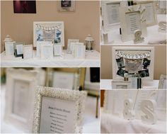 Lesley and Scott's Gailes Hotel Wedding:  DIY seating plan idea:  Seating plan placed in photo frames with a matching frame on each table.