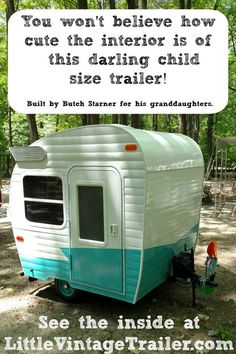 Small child size handmade trailer. The cutest thing ever. You need to see the inside!