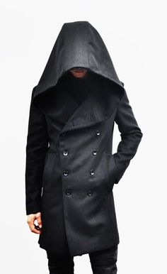 I want a coat like this! Outerwear :: Coats :: Avant-garde Big Hood Double Coat-Coat 39 - Mens Fashion Clothing For An Attractive Guy Look Sharp Dressed Man, Well Dressed, Dark Fashion, Mens Fashion, Mode Sombre, Mode Costume, Look Man, Cool Outfits, Fashion Outfits