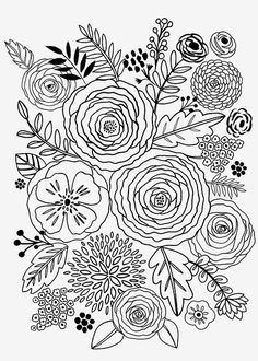 Art, illustration, hand lettering, design, murals and more. Doodle Drawings, Doodle Art, Colouring Pages, Coloring Books, Fleur Design, Floral Drawing, Flower Doodles, Flower Art, Flower Outline