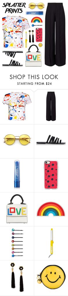 """Splatter Prints"" by lgb321 ❤ liked on Polyvore featuring Alice + Olivia, Miss Selfridge, Wildfox, Ancient Greek Sandals, Lipstick Queen, Casetify, Les Petits Joueurs, Anya Hindmarch, Cara and Drybar"