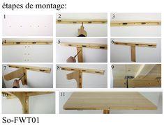 SoBuy® FWT05-B Table murale rabattable pliable en bois 75×60cm, Table de cuisine à rabat -Bleu