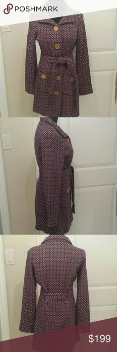 Free People Long Winter Peacoat Trench Belted Gorgoeus patterned belted button down long peacoat from free people. Wool blend, very soft and warm. Feel free to make an offer! Free People Jackets & Coats
