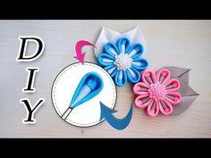 YouTube Kanzashi Flowers, Diy Flowers, Fabric Flowers, Paper Flowers, Diy And Crafts, Arts And Crafts, Hair Decorations, Diy Ribbon, Hair Clips