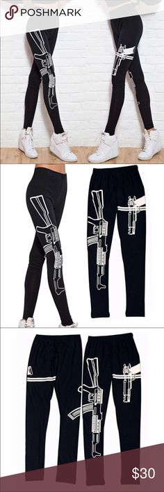 Black leggings with guns design New, never worn. Size xs/s. Comfy black leggings with gun design, stretchy and not see-through. Thank you for visiting my closet, please let me know if you have any questions. I offer great discounts on bundles.  lucy6mahon Pants Leggings