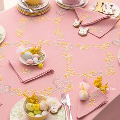 cotone disegnato per tovaglia con motivo fiori con tovaglioli