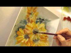 Girasoles Pintura en Porcelana Parte 2 - YouTube
