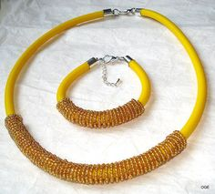 Bracelet and pendant on rubber cord yellow the by OGEjewelry