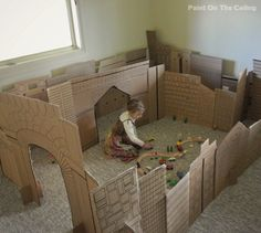 Paint on the Ceiling: Indoor Cardboard City Play Space #diy #play #room #city #cardboard #boxes