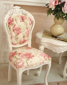Shabby Chic Chair with Pink Floral Pattern and White Side Table