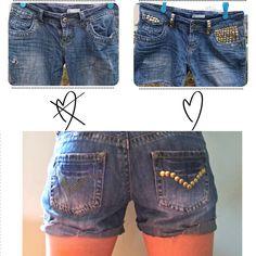 DIY studded denim jeans