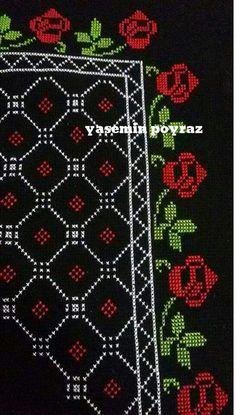 Etamin seccade işleme Couture Embroidery, Vintage Embroidery, Cross Stitch Embroidery, Palestinian Embroidery, Prayer Rug, Bohemian Rug, Crochet, Crafts, Traditional