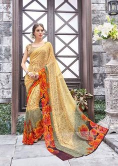 IVIMAL YELLOW WITH GREY COLORED PURE GEORGETTE REGULAR SAREE - 814