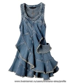 RECYCLE JEANS into cute RUFFLED PATCHWORK DENIM SUN DRESS (or skirt)! natka02: Сарафаны из джинсовых брюк