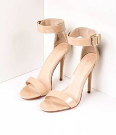 Damita Nude Suede Ankle Strap Heels   Ankle straps, Prom heels and ...