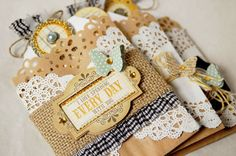 lovely layers of doilies, love the variety of techniques used on this tag
