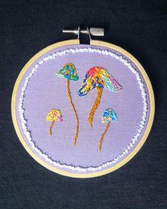 4in. 3D Mushroom Embroidery Art