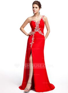 Evening Dresses - $146.99 - A-Line/Princess One-Shoulder Sweep Train Chiffon Evening Dress With Beading Sequins (017025317) http://jjshouse.com/A-Line-Princess-One-Shoulder-Sweep-Train-Chiffon-Evening-Dress-With-Beading-Sequins-017025317-g25317