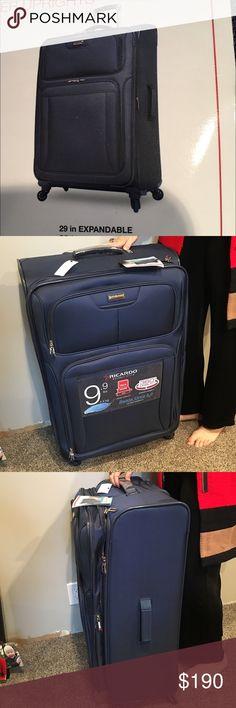 "Navy Ricard ltwt 29"" upright spinner luggage Navy Ricardo Beverly Hills Santa Cruz 5.0, lightweight 9.9 lb., 360 spinner wheels, 10 year warranty, 29"" x 20"" x 10"" +2"". Ricardo Bags Travel Bags"
