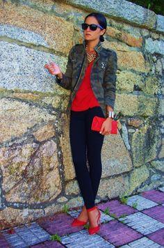 Red shirt, denim jacket, black skinny pants