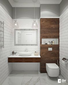 free standing vanity I like, opens space with white tile, like the wood grain for contrast
