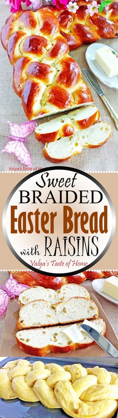 This Sweet Braided Easter Bread with Raisins isn't difficult to make but is very much loved. In fact, your Kitchen Aid mixer does most of the work for you. The bread itself is very soft, moist and sweet, the raisins add a nice touch of sour to it which ad Raisin Recipes, Bread Recipes, Cooking Recipes, Easter Recipes, Holiday Recipes, Dessert Recipes, Monkey Bread, Bunny Bread, Brunch