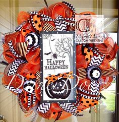 Happy Halloween Pumpkin deco mesh Wreath by DzinerDoorz on Etsy, $115.00
