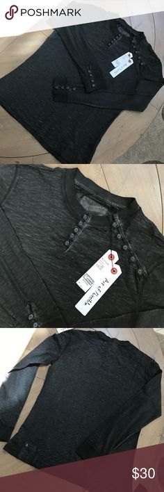 Mens Vintage Slim fit shirt This vintage style shirt is a large but fits like a small-its a slim fit. New never worn.Could be a cute as a womens shirt as well with some boots and jeans! Looped button up on the sleeves and neck. Id say its a dark gray or light colored black shirt. Art of Possible Shirts Tees - Long Sleeve