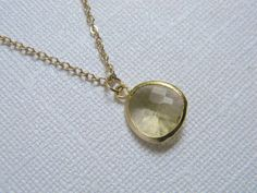 Yellow Bridesmaid Necklace  Czech Glass  Gold by DanaCastle, $19.00