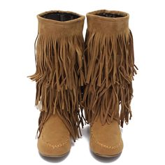 Women Layer Fringe Tassels Flat Heel Boots Decoration Mid-Calf Shoes: Color: Black,Yellow Heel Type: Flat Heel Height: 1cm Upper Material: PU Outsole Material: Rubber Weight:About 700g Boots Tube Height: Approx 31cm Top Tube Circumference: Approx. 34cm Size Chart: European Size 37 38 39 40 US/Canada Size 6 7 8 9 UK Size 3.5 4.5 5.5 6.5 Australia Size 4.5