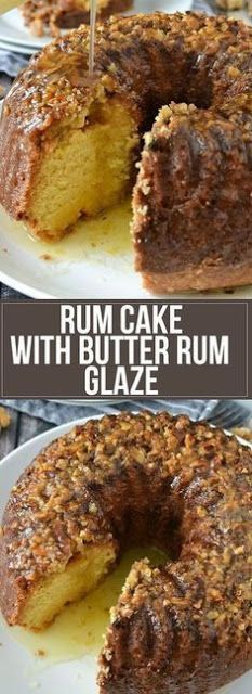 easy homemade recipe for moist and delicious Rum Cake with topped with Butter Rum Glaze perfect for any holiday or occasion!An easy homemade recipe for moist and delicious Rum Cake with topped with Butter Rum Glaze perfect for any holiday or occasion! Brownie Desserts, Just Desserts, Delicious Desserts, Dessert Recipes, Yummy Food, Dinner Recipes, Appetizer Recipes, Breakfast Recipes, Lunch Recipes