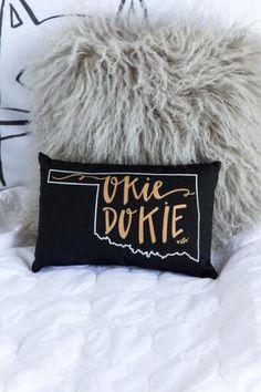 Oklahoma Black State Outline Pillow                                                                                                                                                     More