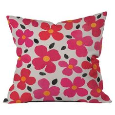"DENY Designs Garima Dhawan Dogwood Berry Outdoor Throw Pillow Size: 26"" H x 26"" W"