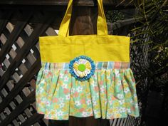 Yellow and Green Girls Tote Bag With Dress by mycreativeclutter, $15.00