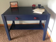 """Desk painted """"Starless Night"""" by Behr.  Finished with Red Faucet Handle knobs from Hobby Lobby. #rhinorestoration #desk #navy"""