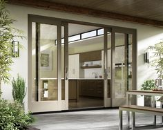 Essence Series french sliding patio door with Tweed exterior color - Essence Series® Patio Doors Sliding French Doors, French Doors Patio, Sliding Glass Door, Double Sliding Patio Doors, Glass Doors, House Windows, Windows And Doors, Door Design, House Design