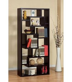 Modern Black Bookshelf with Accessories and Books