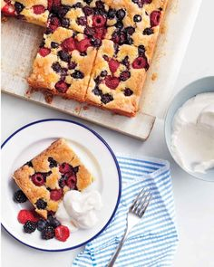 This cake can be cut into 12 larger pieces (as shown) or 24 smaller ones (as described in step 3). You can also opt to use just one variety of berry, 18 ounces total, instead of a mixture.