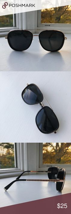 High Quality Retro Sunglasses Retro oversized sunglasses • unisex • sleek gold metal alloy frame • black mirrored lenses • heavy duty high quality • 400 UV protection Accessories Sunglasses